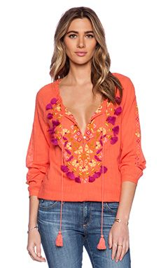 Antik Batik Dove Blouse in Coral
