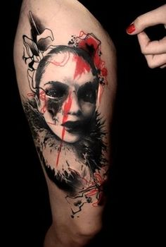 Trash Polka has been invented by Volko Merschky and Simone Pfaff, two tattoo artists, in the well-known Buena Vista Tattoo Club. Trash Polka Tattoos, Tattoo Trash, Modern Tattoos, Unique Tattoos, Artistic Tattoos, Amazing Tattoos, Interesting Tattoos, Scary Tattoos, Body Art Tattoos