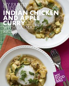 Indian Chicken and Apple Curry with Basmati Rice. Quick, healthy and yummy recipes for you and your little ones. http://www.myfoodbag.com.au/my-food-bags/family