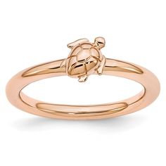Sterling Silver Affordable Expressions Pink-plated Turtle Ring