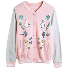 Pink Food Cartoon Print Bomber Jacket (940 THB) ❤ liked on Polyvore featuring outerwear, jackets, cartoon jackets, blouson jacket, comic book, pink jacket and collar jacket