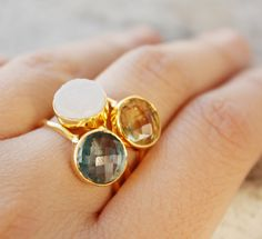 Stone for each baby! oh kuol gemstone stacking rings $145