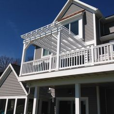 Maximize your ability to use a second story deck with an attached pergola over part of the upper deck space and underdecking beneath for a dry space below. Pergola Swing, Deck With Pergola, Covered Pergola, Pergola Shade, Patio Roof, Pergola Plans, Diy Pergola, Pergola Kits, Pergola Ideas