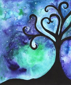 In the Beginning there was love/ abstract tree/ night sky/blue,purple, green, teal, black/Watercolor Print on Etsy, £12.29