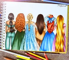 Disney princesses drawings by Kristina Webb Disney Magic, Disney Art, Disney E Dreamworks, Disney Pixar, Walt Disney, Disney Characters, Disney Girls, Disney Love, Disney Style