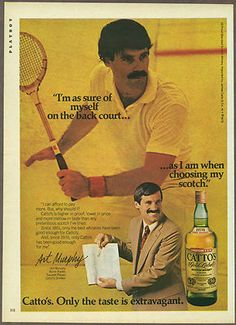 Art Murphy, a squash player - Catto's Whisky - Playboy magazine 1979
