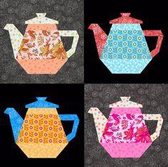 Tea Pot quilt block paper pieced quilt pattern PDF by BubbleStitch Patchwork Quilting, Paper Pieced Quilt Patterns, Quilt Block Patterns, Applique Patterns, Pattern Blocks, Pattern Paper, Quilt Blocks, Sewing Patterns, Quilting Projects