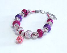 Handmade Beaded Bracelet in Pinks and Purples by BeadsFromHaven, $12.00