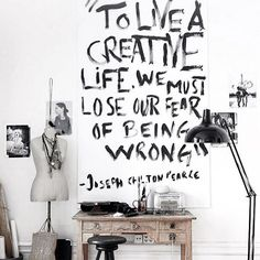 Love this black and white creative workspace + home office!