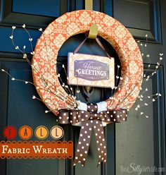 Fall Fabric Wreath tutorial from http://ThisSillyGirlsLife.com #Fall #Wreath #FallDecor #FabricWreath #Orange