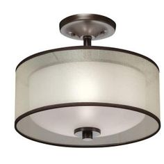 Hampton Bay 2-Light Bronze Semi Flush Mount with Organza Shade-89548 at The Home Depot