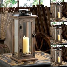 4 Rustic Lodge Style Wooden Framework Clear Glass Panes Pillar Candle Lanterns