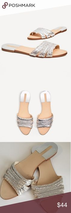 ca29abc619 Zara Silver Raffia Mule Flat Sandal Beautiful Shoe- European Exclusive  COLOR: silver Measurements: