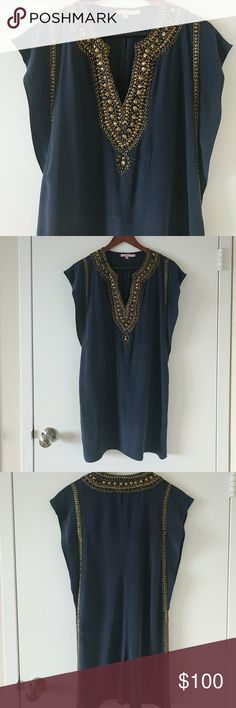 Calypso St. Barth Dress Navy blue silk tunic style dress with gold/brass embellishments. Dress in in flawless condition. Tag size says XS but I wear a 6 and it fits me. It's supposed to be loose fitting and fits somewhat like a shift. This is a great dress for summer and wedding season. Calypso St. Barth Dresses Mini