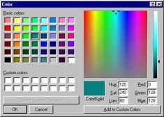 Colour selector in Windows 95 Microsoft Windows, Microsoft Icons, Microsoft Wallpaper, Microsoft Excel Formulas, Microsoft Word Free, Microsoft Paint, Microsoft Surface Book, Microsoft Office, Windows 98