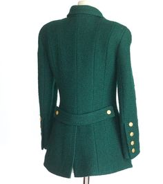 CHANEL jacket rich green heaps gold CC buttons Vintage fits 40 6 image 2