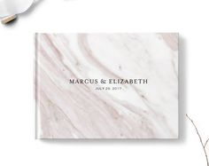Marble wedding guest book, Landscape or Portrait, Wedding guest book, Pink gb0112