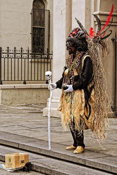 voodoo man mime in jackson square in french quarter new orleans ☆ Love ☆ ❤♔Life, likes and style of Creole-Belle ♥