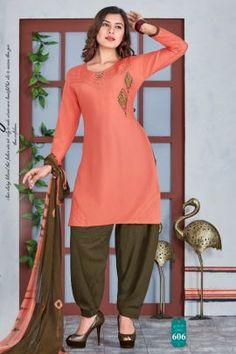 Cotton Salwar Kameez, Salwar Suits, Patiyala Dress, Lace Border, Daily Wear, Winter Collection, Cotton Dresses, Peach, Tunic Tops