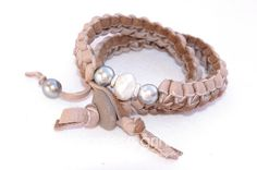 ❥ blush pink leather and pearls