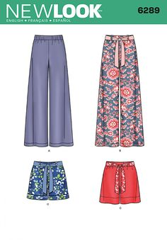 New Look 6289 Misses' Pull-on Pants or Shorts and Tie Belt Sewing Pattern