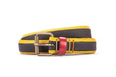 #2983 - Yellow and black belt from a spare race bicycle tyre, entirely handcrafted, iron branded and numbered. Strap folded up and stitched up with cotton colored strings.