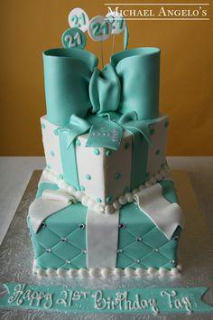 Fondant Cake Design Rosemount Aberdeen : Tiffany blue and white 2 tier birthday cake Cakes and ...
