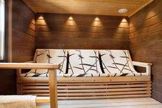 Like the colors also! Sauna Lights, Steam Sauna, Sauna Room, Hearth And Home, Saunas, Relax, Comfy, House Design, Cabin