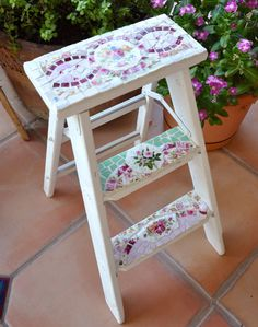 Mosaic Shabby Step Ladder with Vintage China and Stained Glass via Etsy