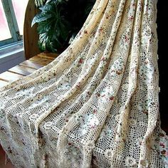 "Vintage Hand Crochet Patchwork Tablecloth Sheet Curtain 60"" 90"" Romantic Country 