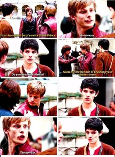 Bhahaha! I was laughing like insane at this scene. Arthur was rubbing it in Merlin's face... THE HONOUR!