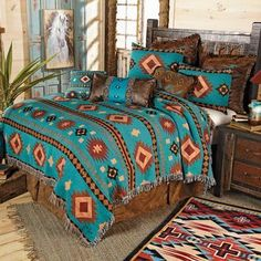 Tucson Sky Tapestry Coverlet - Queen - A Lone Star Western Décor Exclusive - This cotton-poly coverlet brightens your southwest room with turquoise and distressed neutrals in a sawtooth diamond design. Tucson, Pink Bed Sheets, Cowgirl Bedroom, Cowboy Room, Bedroom Furniture, Bedroom Decor, Bedroom Ideas, Master Bedroom, Western Bedrooms