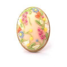 Light Beige Ring Oval Ring Flower Ring by FairyFlowersJewels