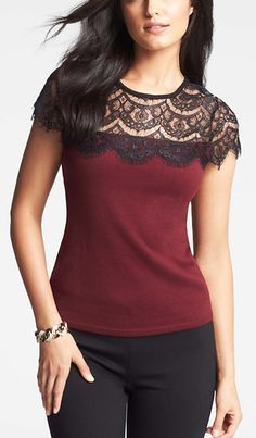 Petite Lace Top Shell - A sheerly-for-show, scalloped lace overlay adds unmistakable luxe to this beautifully fitted shell. Pair it with dark denim and pumped up heels for head-to-toe wow. Back button closure. Petite Sweaters, Red Sweaters, Lace Tops, Refashion, Diy Clothes, Pretty Outfits, Blouse Designs, Blouses For Women, Fashion Outfits