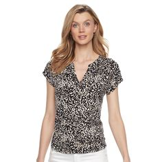 Women's Dana Buchman Printed Splitneck Top, Size: Large, Lt Beige