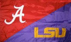 Alabama/LSU hand sewn house divided flag. $64.99 Lsu Tigers Football, Sec Football, Crimson Tide Football, Alabama Crimson Tide, House Divided Football, House Divided Flags, House Divided Wreath, Lsu Alabama, American College Football