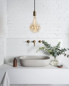"14 Likes, 3 Comments - Myrtle & Moss (@myrtleandmoss) on Instagram: ""Lighting is key - Monday Morning Bathroom Inspo. Image via @tala #myrtleandmoss #botanicalskincare…"""