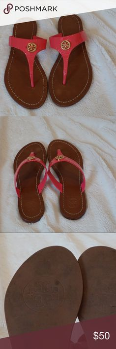 Pink Tory Butch thong sandals These festive and fun shoes are great for any spring and summer outfit. They are comfortable and in good condition. Tory Burch Shoes Sandals