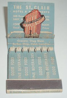 MATCHBOOK THE ST. CLAIR HOTEL AND APARTMENTS CHICAGO ILL.