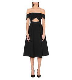 SELF-PORTRAIT Ayelette Cut-Out Crepe Dress. #self-portrait #cloth #dresses