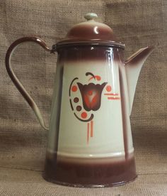 VINTAGE FRENCH ENAMELWARE COFFEE POT ~ GREAT COLORS! Service Assiette, Grandmothers Kitchen, Enamel Ware, Vintage Enamelware, Bottle Vase, Vintage Coffee, The Good Old Days, Decoration, French Vintage