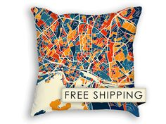 Oslo Map Pillow  Norway Map Pillow 18x18 by iLikeMaps on Etsy, $65.00