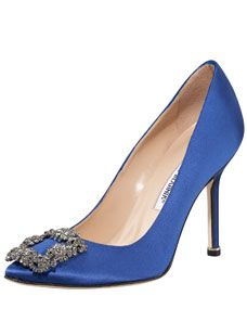 From Sex and the City- Carrie's wedding shoes Manolo Blahnik Hangisi Satin Pump, Cobalt Blue