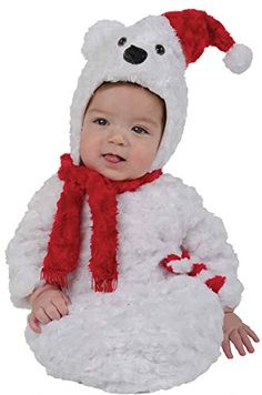 UHC Baby's Christmas Polar Bear Plush Bunting Fancy Dress Infant Child Costume, 0-6M >>> Additional info @