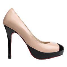 Contrast Color Toe Platform Pumps OASAP.COM (2 045 UAH) ❤ liked on Polyvore featuring shoes, pumps, oasap, sheepskin shoes, platform pumps, round cap, platform stiletto pumps and stiletto high heel shoes