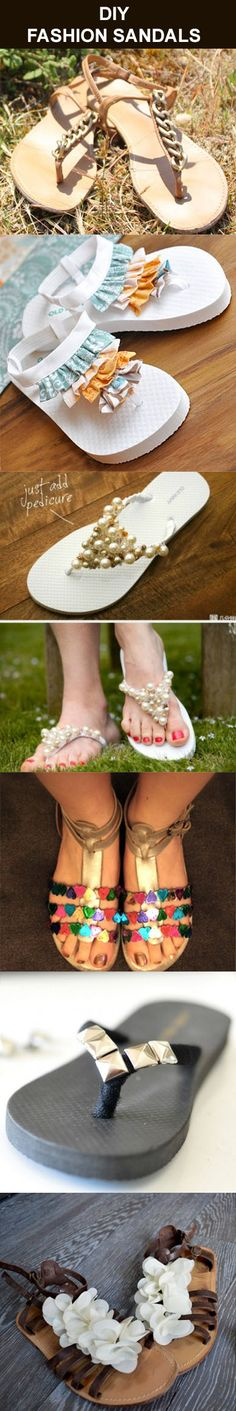 Ideas for making DIY Fashion Sandals by embellishing a pair of plain sandals or even flip flops with a variety of items from your junk drawer.