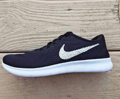Nike Free RN with Swarovski Crystal Bling Black by TheFrostShoppe