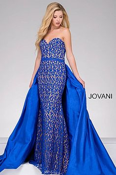 Royal Blue Fitted Lace Dress 35052