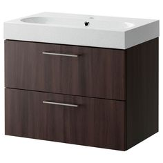 GODMORGON/BRÅVIKEN Sink cabinet with 2 drawers - black-brown/light gray - IKEA