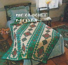 Quadro Crochê Navajo Afegã Clássica -  /    Vintage Crochet Navajo Afghan Box -